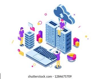 Big data center, server room rack, engineering process, teamwork, computer technology, cloud storage, command work, isometric people vector illustration