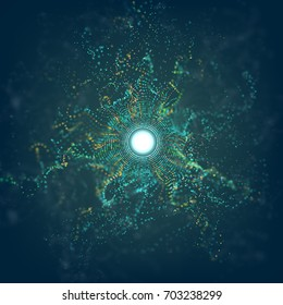 Big data circle particle grid explosion with bokeh. Ai abstract vector flare background. Futuristic dust.