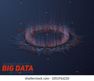 Big data circular perspective visualization. Futuristic infographic HUD. Information aesthetic design. Visual data complexity. Complex data threads graphic. Social network. Abstract graph