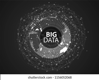 Big data circular visualization. Futuristic infographic. Information aesthetic design. Visual data complexity. Complex data threads graphic. Social network representation. Abstract graph