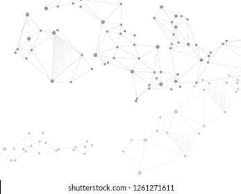 Big data cloud scientific concept. Network nodes greyscale plexus background. Tech vector big data visualization cloud structure. Interlinkes nodes cells random grid. Wireframe minimal design.