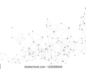 Big data cloud scientific concept. Network nodes greyscale plexus background. Nodes and lines polygonal connections. Tech vector big data visualization cloud structure. Nanotechnology backdrop.