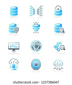 Big data, cloud sharing and AI environment glossy icons