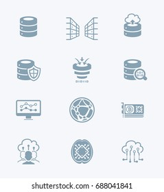 Big data, cloud data sharing and AI environment icons