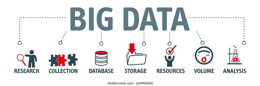 Big data concept. Banner with keywords and icons