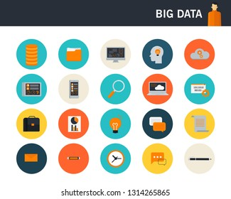 Big data concept flat icons