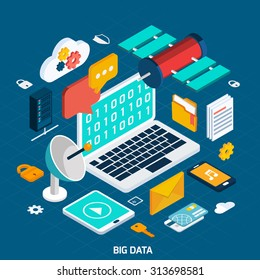 Big data concept with isometric notebook and digital icons vector illustration