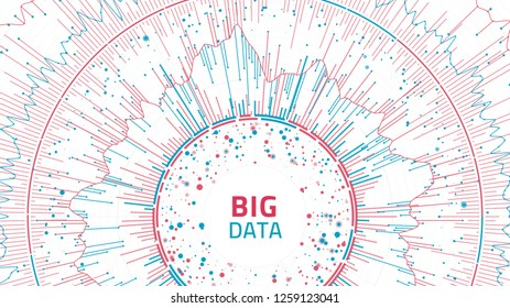 Big data concept visualization. Data complexity representation. Graphic abstract background. Vector eps10