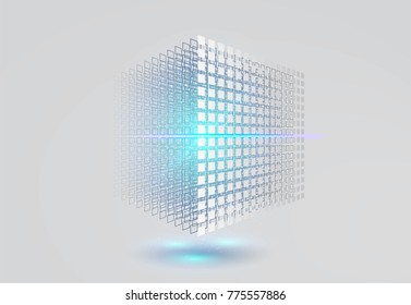Big data cube. 3D geometric cube from small pieces. Vector ilustration.