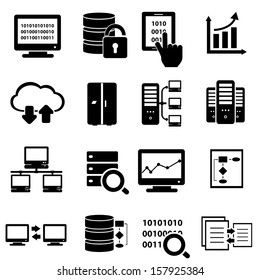 Big data, cybersecurity and technology icon set