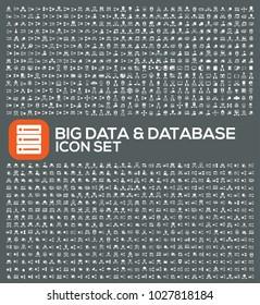 Big data and database icon set design