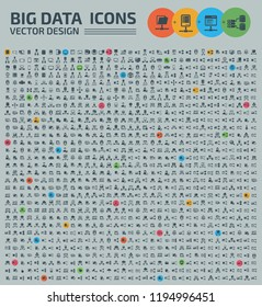 Big data and database vector icon set
