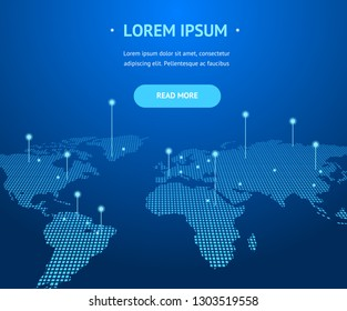 Big Data Digital Communication Concept Card Background with World Map Technology Global Connection. Vector illustration of Globe Space