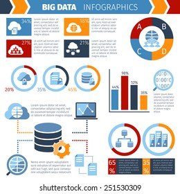Big data exchange and storing complex wireless computer systems technology statistic analysis  infographic report abstract vector illustration