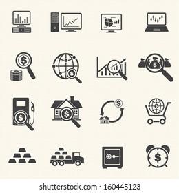 Big Data  and Finance Icons Set