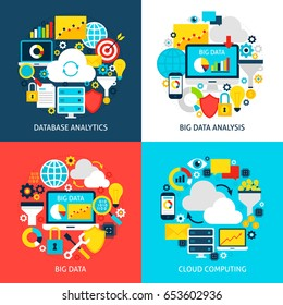 Big Data Flat Concepts. Design Vector Illustration. Collection of Business Analysis Posters.