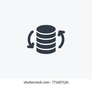 Big data flow icon isolated on clean background. Update database concept drawing data icon in modern style. Vector illustration of data update icon for your web site mobile logo app UI design.