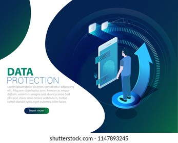 Big data flow processing concept, cloud database, isometric vector