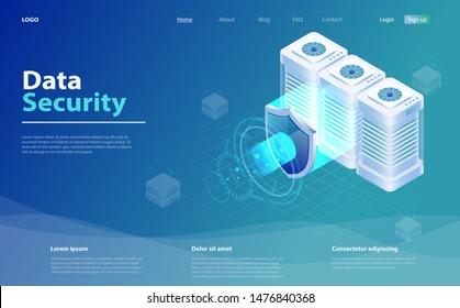 Big data flow processing data protection concept. Cloud database, web hosting server room. Isometric database protection concept. Digital information technology. Database security, shield server unit