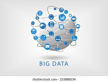 Big data and globe flat design illustration showing connectivity between different devices and information like mail, analytics,smart watch, smart phone, tablet, notebook, server and storage