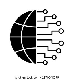 Big data glyph icon. Silhouette symbol. Cloud computing. Neurotechnology network. Artificial intelligence. Negative space. Vector isolated illustration