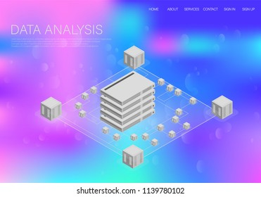 Big data , great design for any purposes. Big data vector illustration. Big data graphic. Technology background. Modern construction site background. Data center.