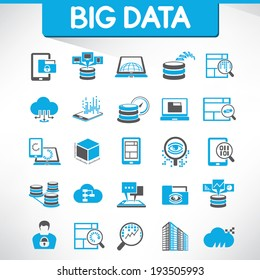 big data icons set and web analytics icons set