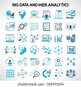 big data icons, web analytics icons, data analytics icons, network analytics icons set