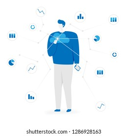 Big data illustration with people, cloud storage concept