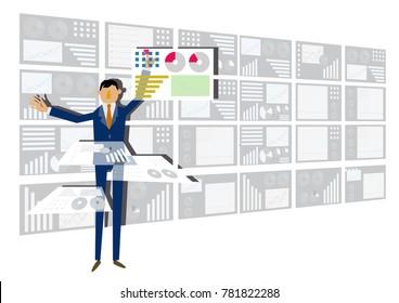 Big data and images of virtual reality. Image of large capacity data analysis. Image of virtual reality and business. Image of businessman and big data. Image of informationization.