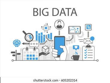 Big data infographic vector illustration with hand holding smartphone