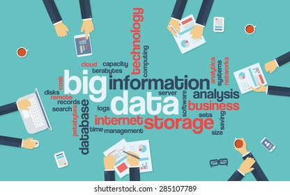 Big data infographics word cloud. Businessman sitting around with devices and documents for presentation. Eps10 vector illustration