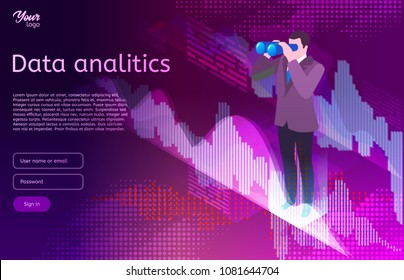 Big data isometric design concept. Man in suit use binocular spyglasses. Business analitics and digital marketing. Vector illustration