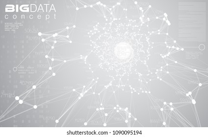 Big data light grey background vector illustration. White information streams center visualization. Future digital technology. Futuristic infographic. Cyber aesthetic design