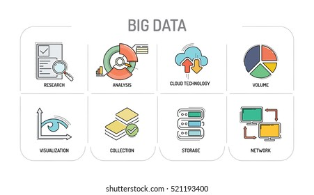BIG DATA - Line icons Concept