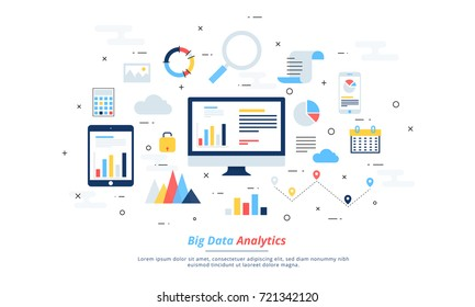 Big data, machine algorithms, analytics concept safety and security concept. Fin-tech (financial technology) background. Colourful flat illustration style.
