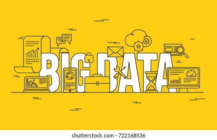 Big data, machine alogorithms, analytics concept saftey and security concept. Fin-tech (financial technology) background. Lineart illustration on yellow background.