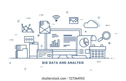 Big data, machine alogorithms, analytics concept saftey and security concept. Fin-tech (financial technology) background. Flat illustration style.