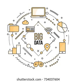 Big data, machine alogorithms, analytics concept saftey and security concept. Fin-tech (financial technology) background. Lineart illustration.