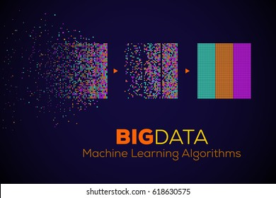 BIG DATA Machine Learning Algorithms. Analysis of Information Minimalistic Infographics Design. Science/Technology Background. Vector Illustration.