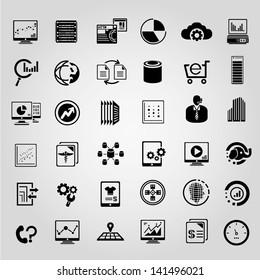big data management icons set, black icons set