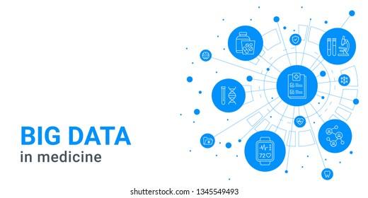 Big data in medicine - digital health and hospital blue background, medical icons, information technology