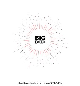 Big data minimal flat icon. Circle shape stripes and lines with digits. Bigdata design concept illustration. Round pattern