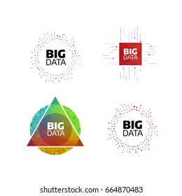 Big data minimal flat icon set. Circle shape stripes and lines with digits. Bigdata design concept illustration