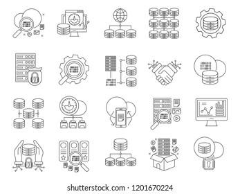 Big data outline vector icons set