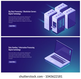 Big data processing, blockchain, digital technology, server room rack, isometric laptop vector illustration on ultraviolet background