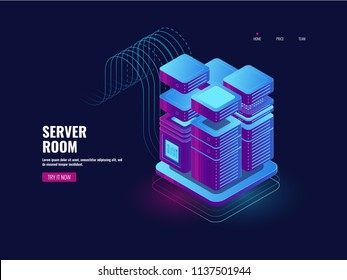 Big data processing, blockchain technology, token access system, server room, datacenter and database icon, web VPN and hosting dark ultraviolet neon isometric vector illustration 3d art