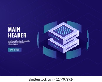 Big data processing and calculating process, server room, web hosting vps server room, database isometric vector dark neon