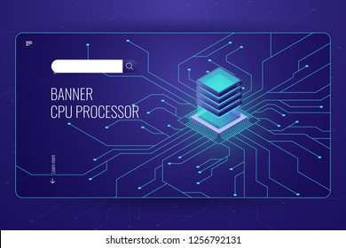 Big data processing, CPU processor isometric banner, network data transfer and calculation, dark neon violet vector