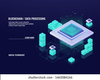 Big data processing isometric icon, blockchain technology, server room and cloud computing center, computer information digital technology, data flow, 3d dark vector